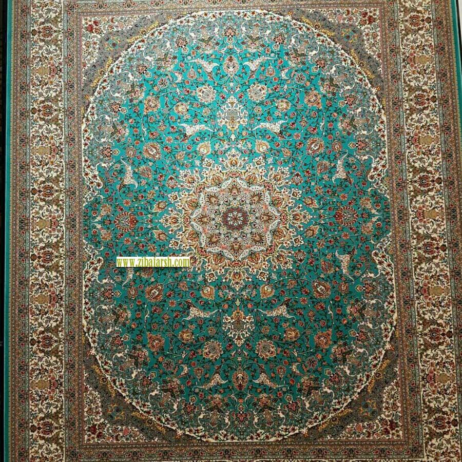 فرش صاحبقران سبز آبی