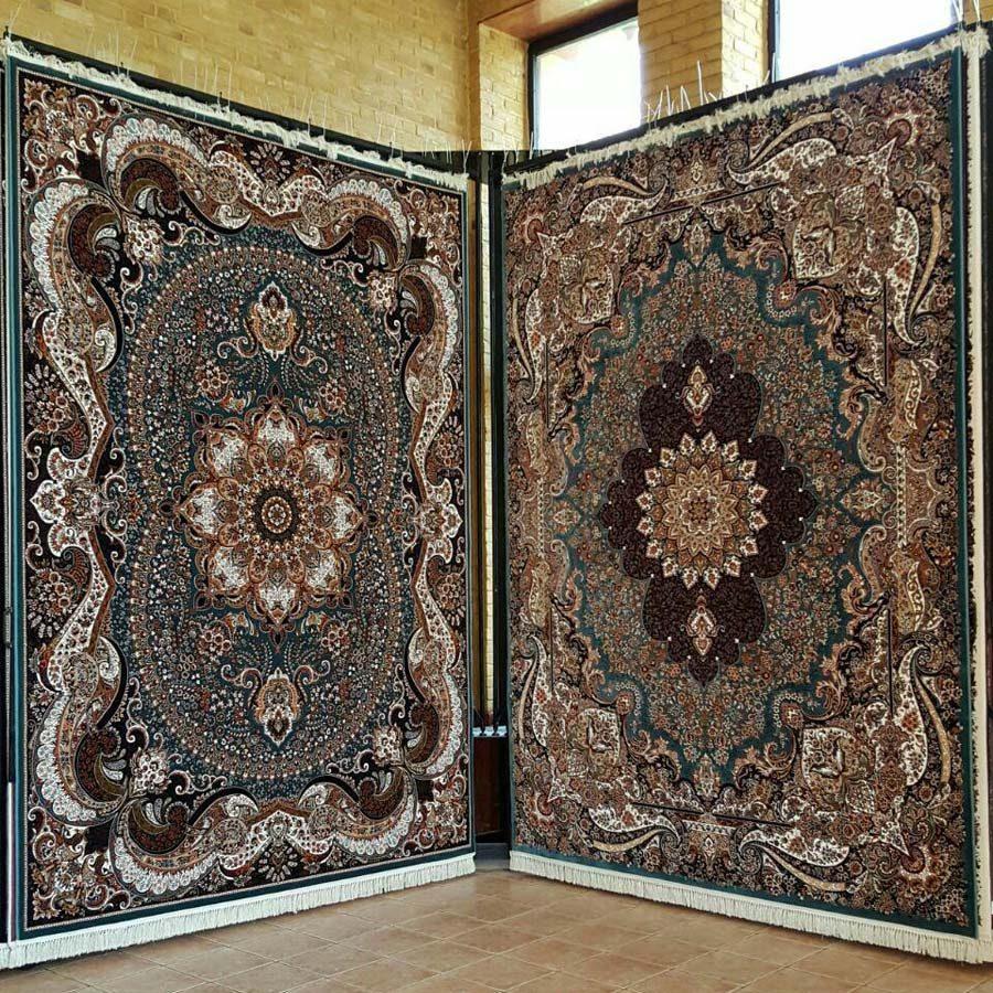 فرش چیچک و ژیوان سبز آبی